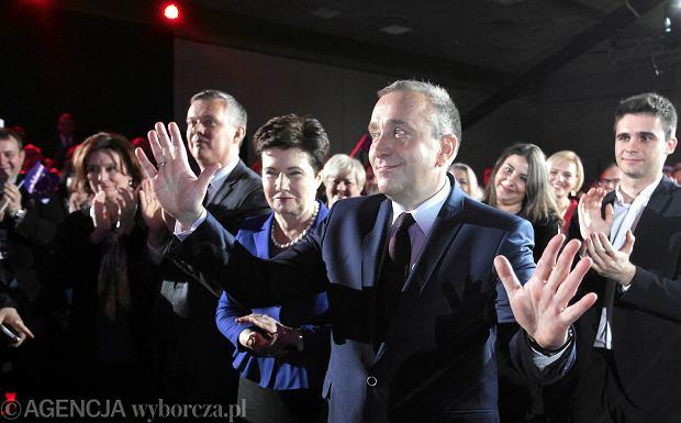 Grzegorz Schetyna po ogłoszeniu wyników wyborów na przewodniczącego Platformy Obywatelskiej. Był jedynym kandydatem na szefa PO. Warszawa, 26 stycznia 2016 r.