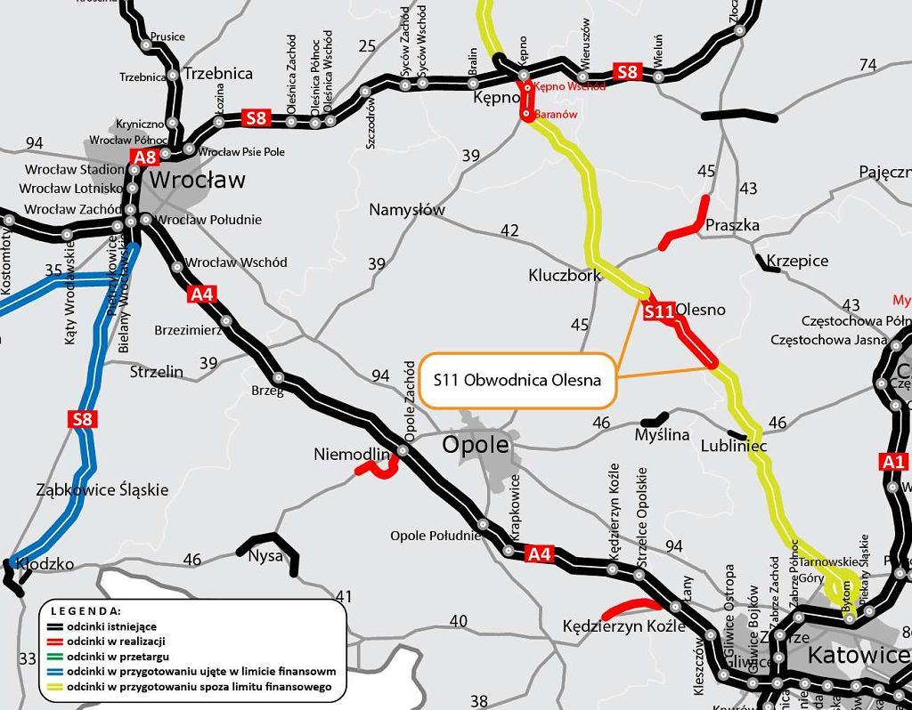 Trasa S11 - obwodnica Olesna