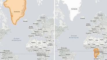 Interaktywna mapa, która umożliwia porównywanie wielkości państw