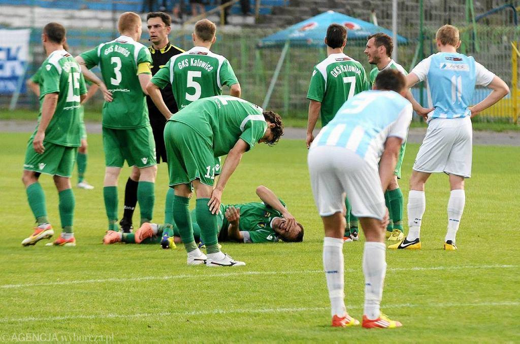 Paweł Dreschel podczas meczu Stomil Olsztyn - GKS Katowice (0:0)