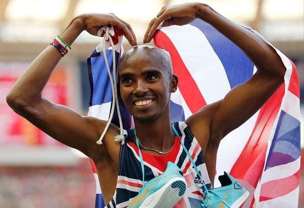 Britain's Mo Farah reacts after winning the men's 10,000-meter final at the World Athletics Championships in the Luzhniki stadium in Moscow, Russia, Saturday, Aug. 10, 2013. (AP Photo/Misha Japaridze)