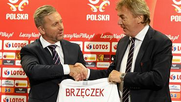 Prezes PZPN Zbigniew Boniek i nowy selekcjoner reprezentacji Polski Jerzy Brzęczek. Warszawa, 23 lipca 2018