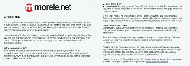 Wiadomości rozesłane do klientów Morele.net