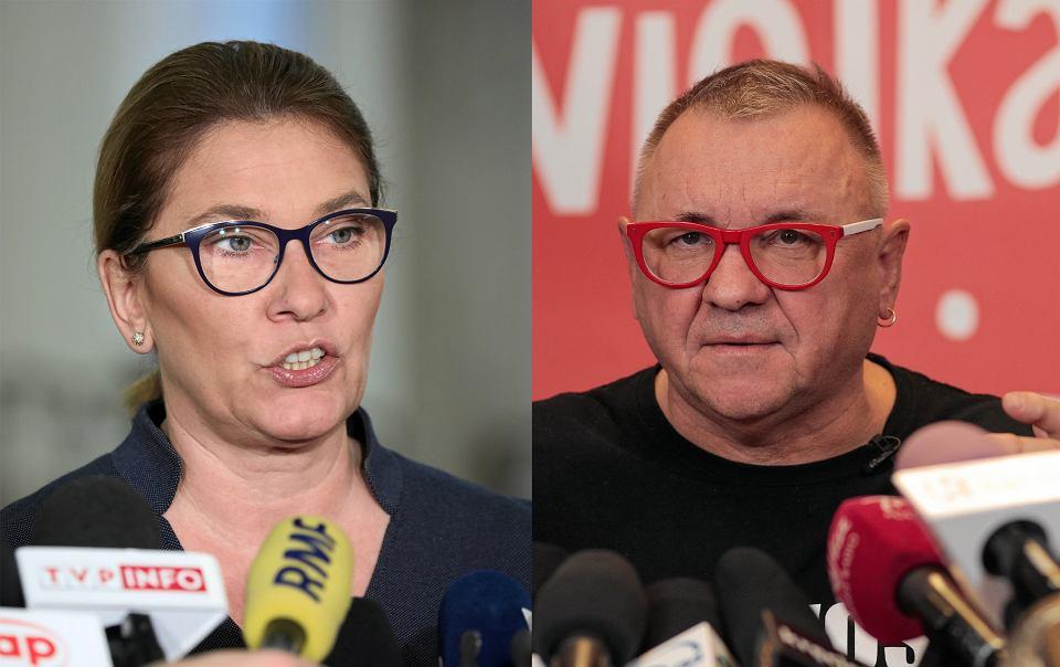 Beata Mazurek i Jerzy Owsiak