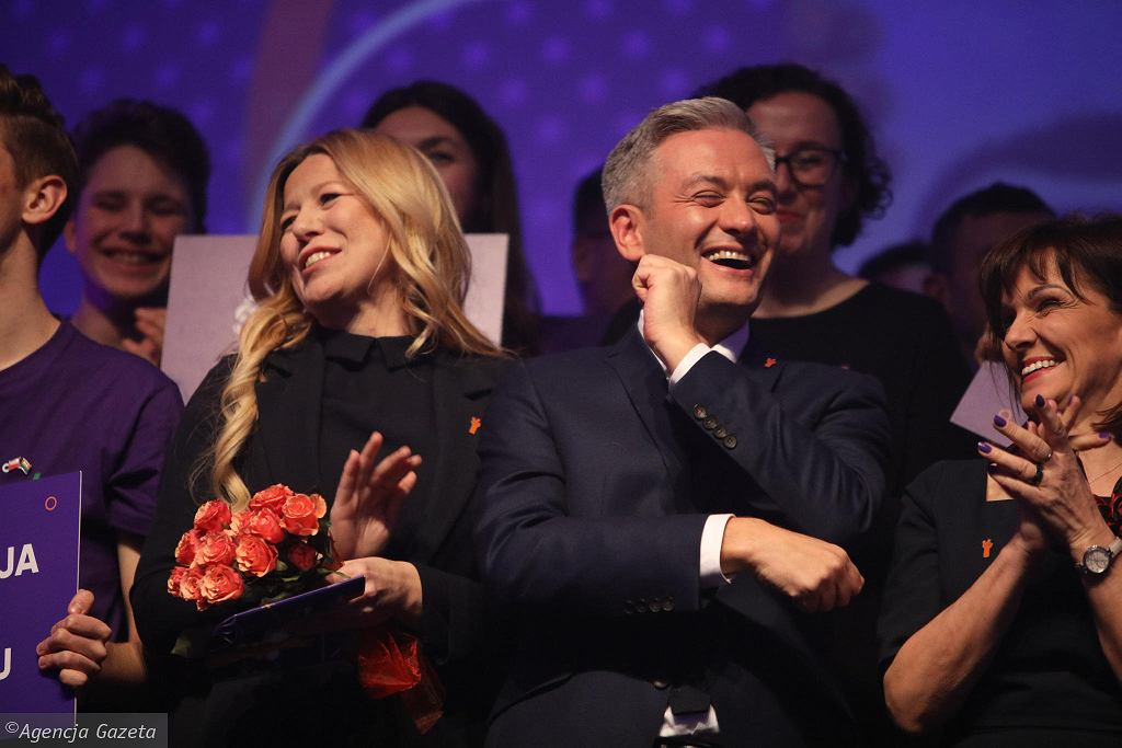 6 lutego 2019 r. Robert Biedroń podczas konwencji regionalnej partii Wiosna na terenie Międzynarodowych Targów Poznańskich