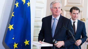 Negocjator UE w sprawie brexitu Michel Barnier na spotkaniu z kanclerzem Austrii