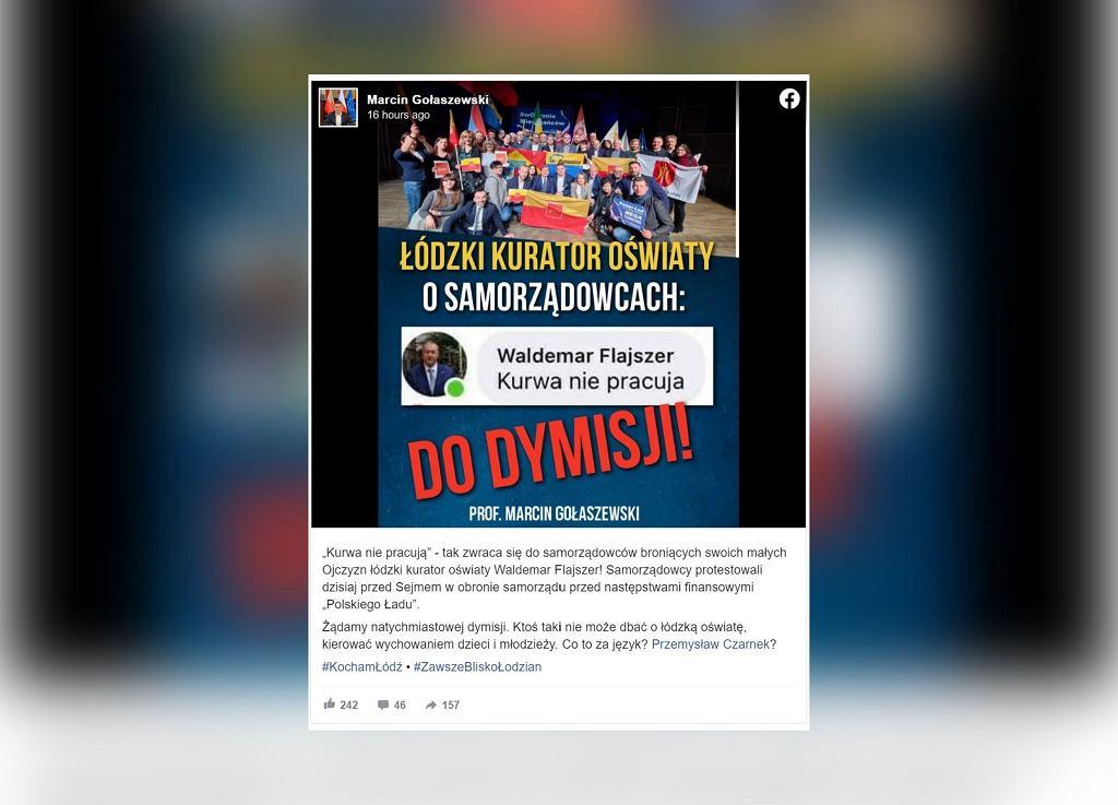 Łódzki kurator oświaty Waldemar Flajszer podzielił się niewybrednym komentarzem w mediach społecznościowych
