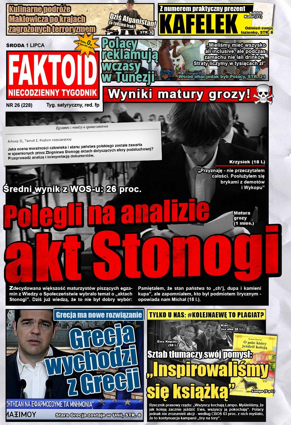 Faktoid: Uczniowie polegli na aktach Stonogi - Faktoid ujawnia kulisy matury z WOSu - Faktoid