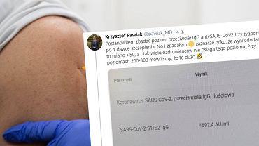 Po przyjęciu szczepionki lekarz pokazał test na obecność przeciwciał