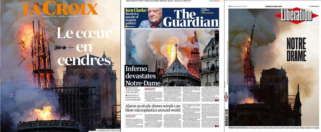 Europejska prasa o pożarze w Notre Dame