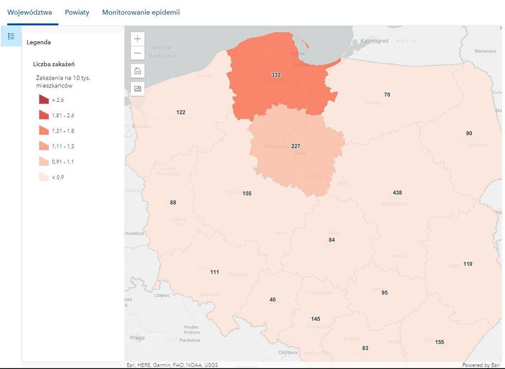Liczba zakażeń w województwach na każde 10 tys. mieszkańców - mapka z 8 lutego 2021 r.