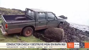 Auto wjechało w posąg na Wyspie Wielkanocnej