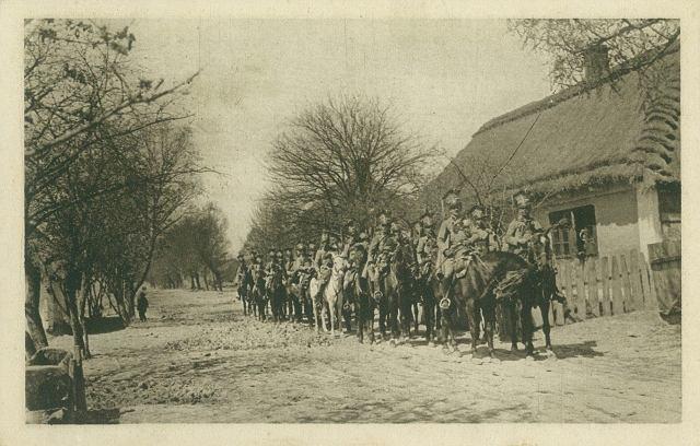 Pocztówka przedstawiająca polskich legionistów, wydana przez Naczelny Komitet Narodowy