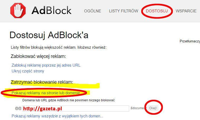 Adblock  -  dodawanie gazeta.pl do whitelist