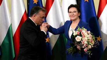 Viktor Orban i Ewa Kopacz podczas spotkania w kancelarii premiera w Warszawie