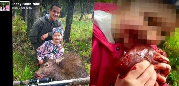 8-letnia dziewczynka je serce upolowanego z ojcem jelenia