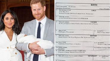 Wyciekł certyfikat narodzin Archiego. Odpowiada na kilka pytań. Wiemy m.in. gdzie urodził się syn Meghan i Harry'ego.