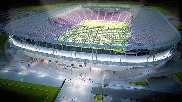 Wizualizacja nowego stadionu miejskiego w Szczecinie. Ma powstać nie wcześniej niż w 2020 r. Widok od strony ul. Twardowskiego