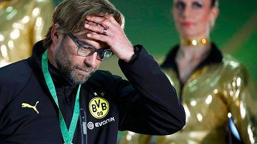 A tu już całkiem załamany trener Borussii Juergen Klopp po finale Pucharu Niemiec w 2014 r.