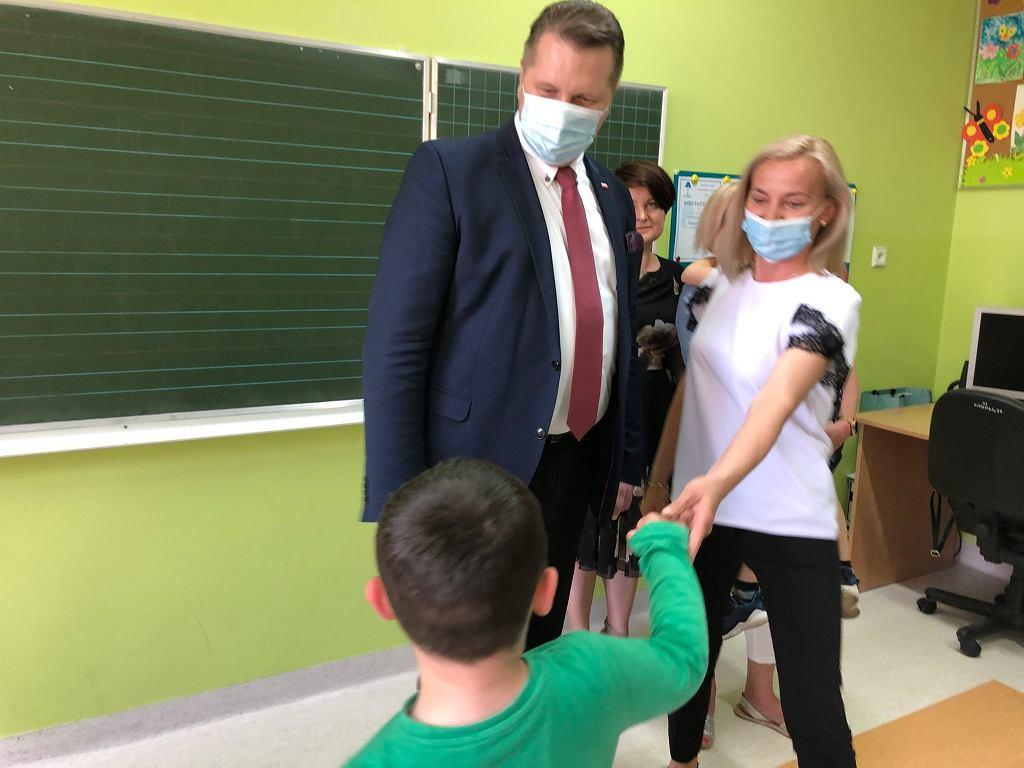 Spotkanie ministra Przemysława Czarnka z uczniami z Łukowa