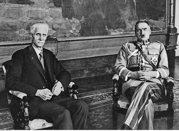 Józef Piłsudski podczas rozmowy z marszałkiem sejmu Ignacym Daszyńskim, kwiecień 1928