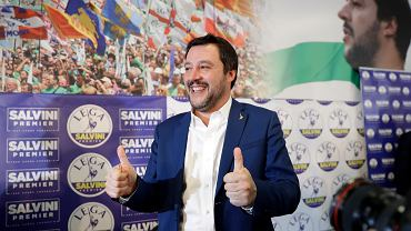 5.03.2018, Mediolan, Matteo Salvini, lider Ligi Północnej, po ogłoszeniu wyników wyborów.