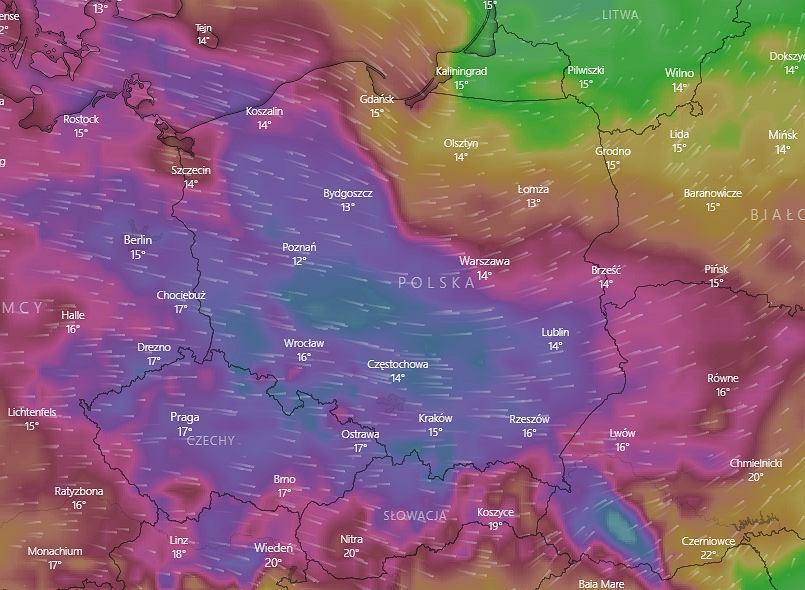 Wichury przechodzą nad Polską