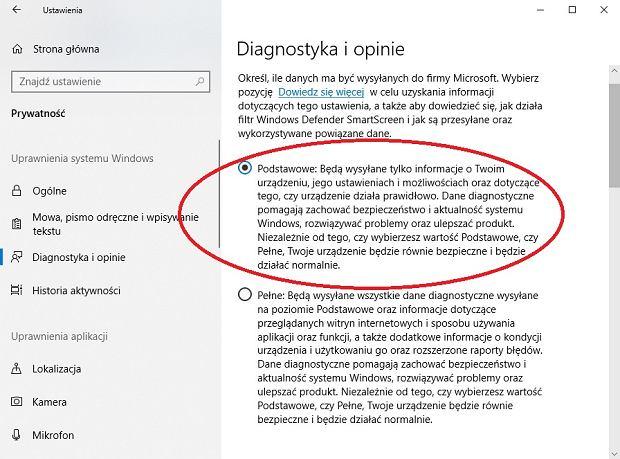 Wysyłanie danych Microsoft