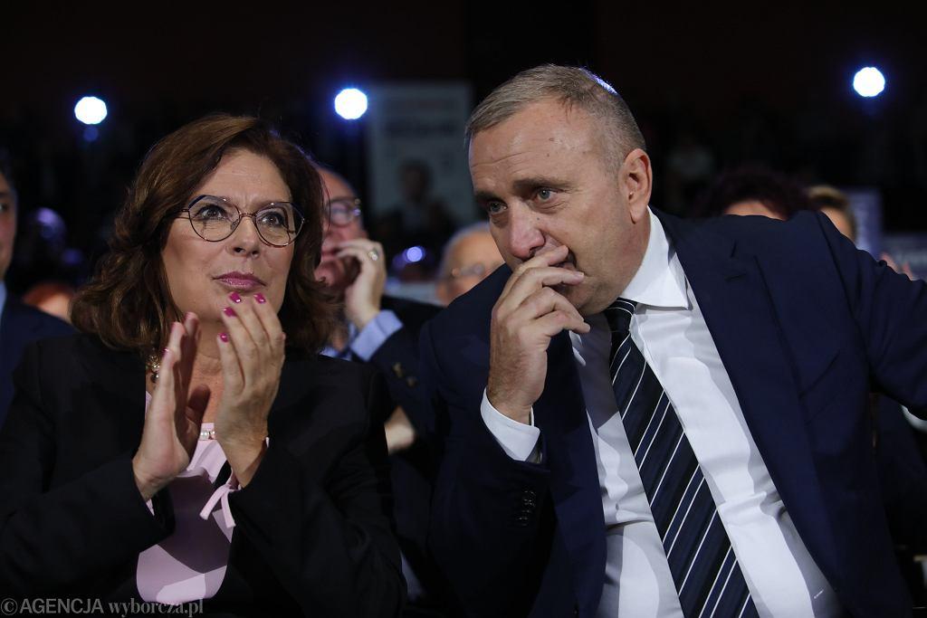Grzegorz Schetyna oraz Małgorzata Kidawa-Blońska podczas konwencji Koalicji Obywatelskiej w Krakowie.