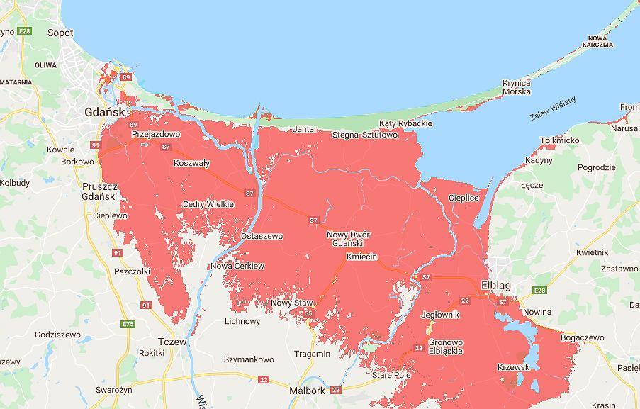 Prognoza terenów zagrożonych zalaniem przez morze lub corocznymi powodziami morskimi - Trójmiasto