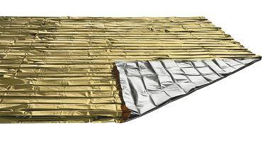 Koc ratunkowy termiczny stosowany stroną srebrną do ciała pacjenta pozwala go ogrzać, stroną srebrną na zewnątrz: wychłodzić