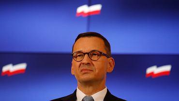 Konferencja prasowa premiera rządu PiS Mateusza Morawieckiego