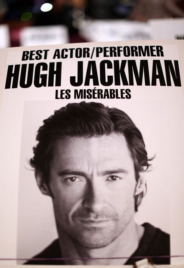 A seating placard of actor Hugh Jackman for 85th Academy Awards are seen inside the Dolby Theatre in Los Angeles, Thursday, Feb. 21, 2013. The Academy Awards will be held Sunday, Feb. 24, 2013. (Photo by Matt Sayles/Invision/AP)