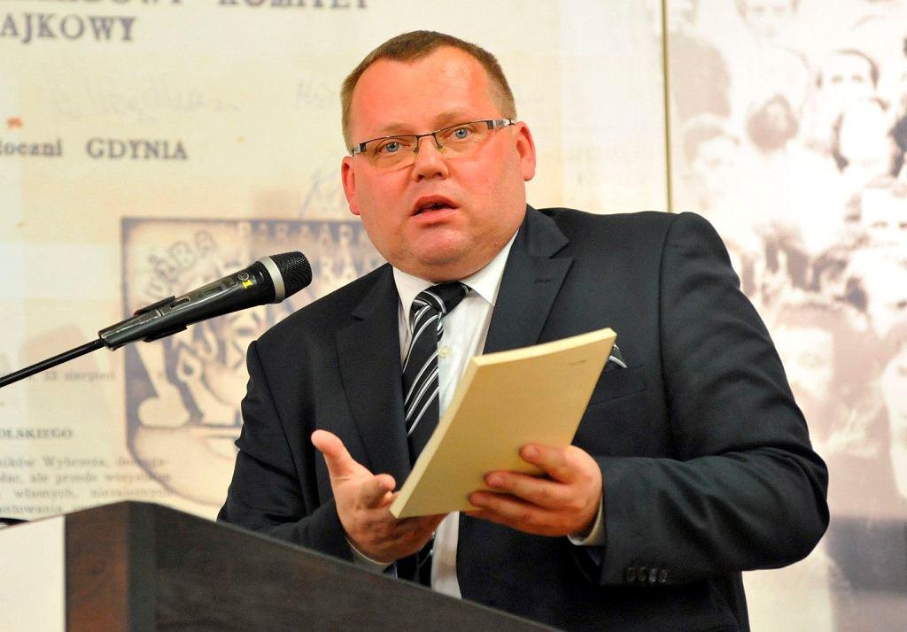 26.08.2014 Gdańsk Historyczna Sala BHP Stoczni Gdańskiej. Jakub Stelina podczas konferencji Polska Solidarna Lecha Kaczyńskiego.