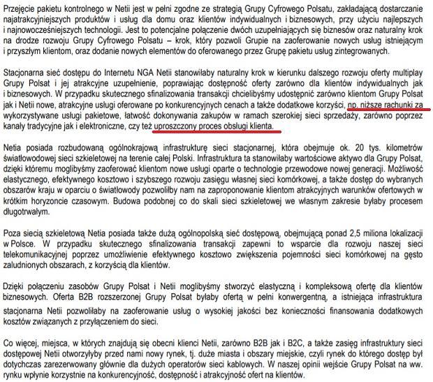 Fragment raport rocznego Cyfrowego Polsatu
