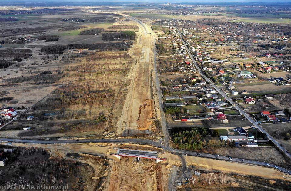 Częstochowa, okolice Wierzchowiska, 19 marca 2019 r. Budowa autostradowej obwodnicy miasta