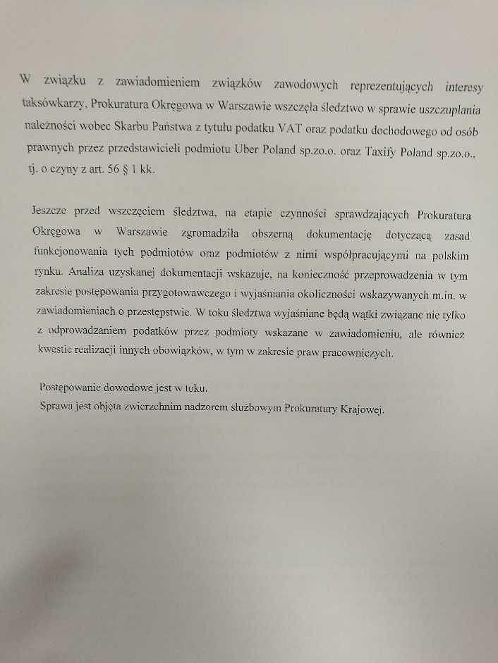 Pismo Prokuratury Okręgowej w Warszawie