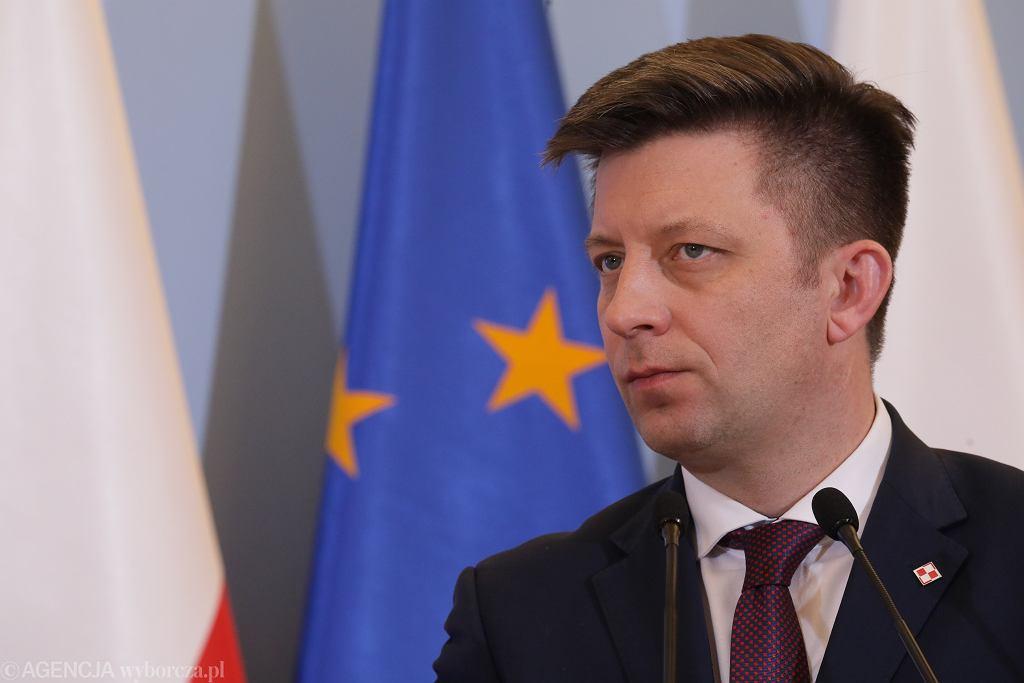 Szef Kancelarii Prezesa Rady Ministrów Michał Dworczyk podczas konferencji prasowej. Warszawa, 3 marca2020