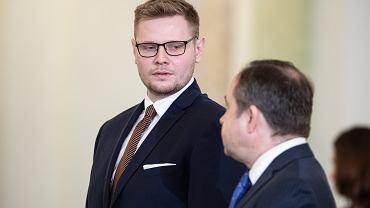 Nowo powołany minister środowiska w rządzie PiS Michał Woś. Warszawa, Pałac Prezydencki, 5 marca 2020