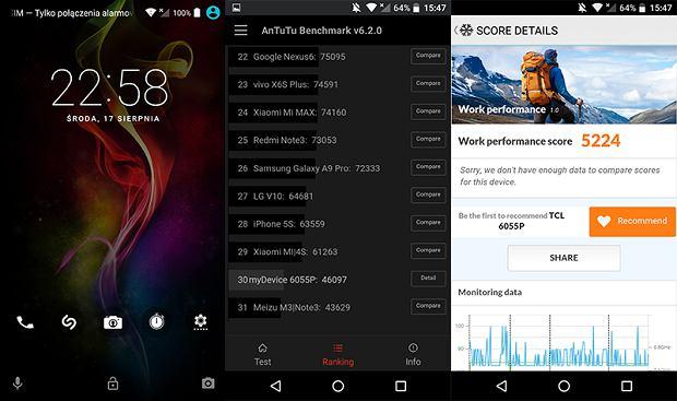 Ekran blokady i benchmarki na Alcatel Idol 4