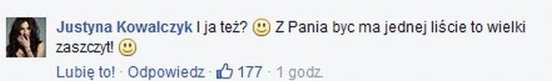 Justyna Kowalczyk komentuje wpis Jandy