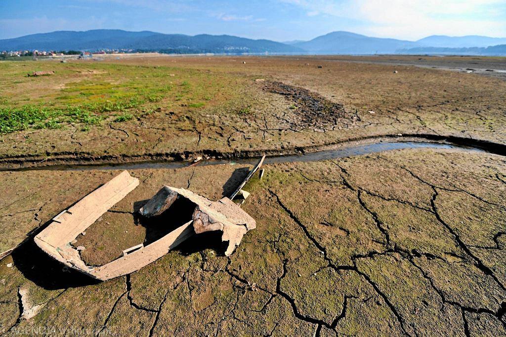 Wysychające w wyniku suszy Jezioro Żywieckie, lipiec 2015