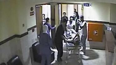 Kadr z nagrania z monitoringu szpitala
