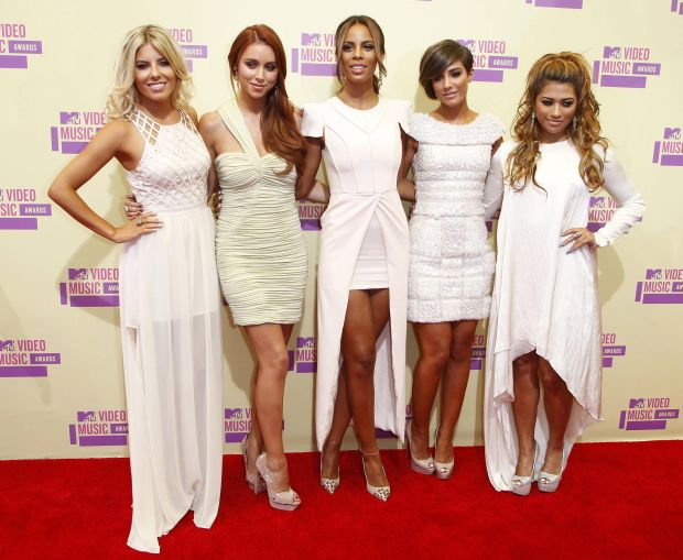 """British pop group """"The Saturdays"""" arrive at the 2012 MTV Video Music Awards in Los Angeles, September 6, 2012.  REUTERS/Danny Moloshok    (UNITED STATES  - Tags: ENTERTAINMENT)    (MTV-ARRIVALS)"""