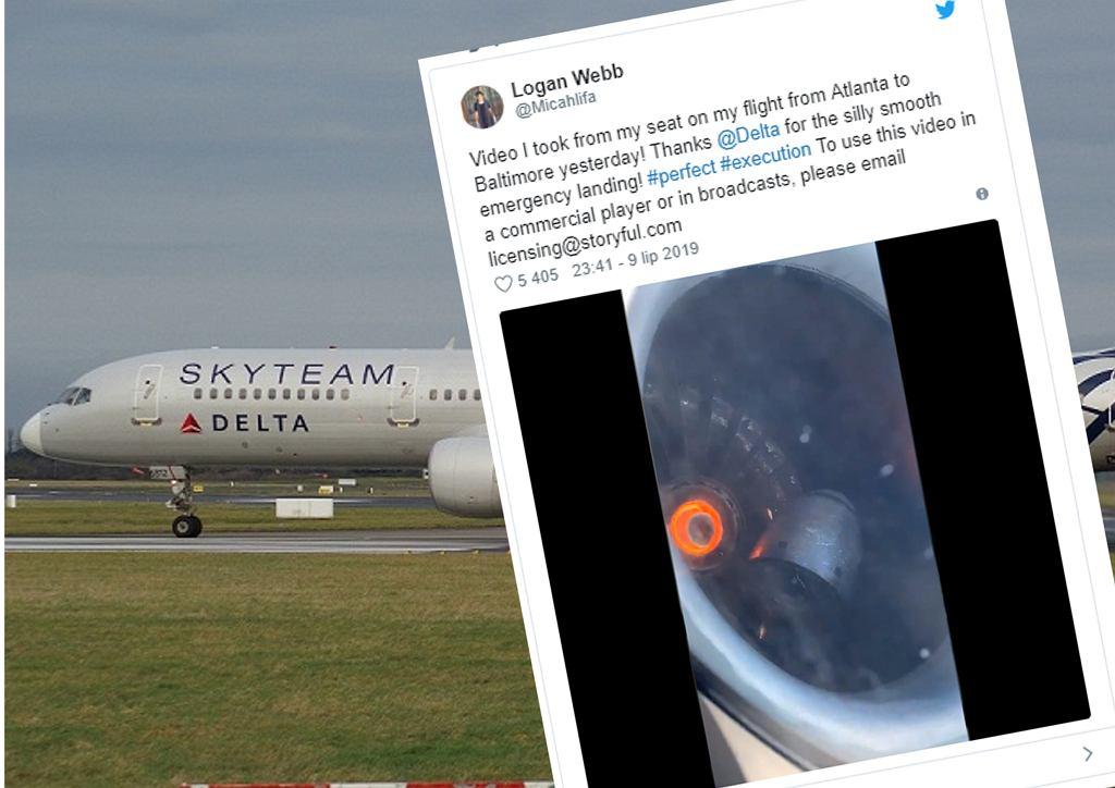 USA: Dramat na pokładzie samolotu. Pasażer nagrał awarię silnika