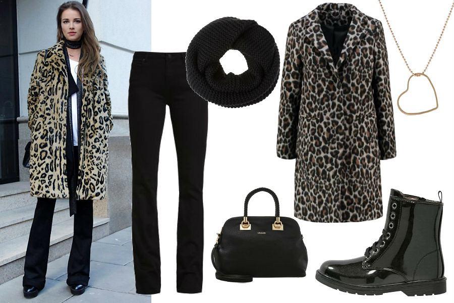 maffashion.com, panterkowy płaszcz, czarne botki, jeansy