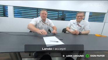 McLaren ogłosił przedłużenie kontraktu z Lando Norrisem za pośrednictwem filmiku stylizowanego na sytuację z gry F1 2020