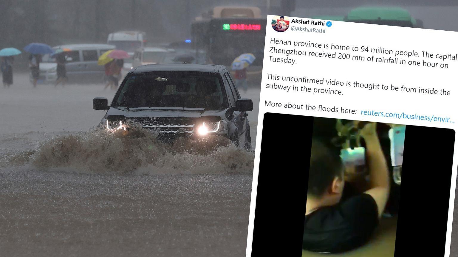 China.  Inundații masive, pasagerii s-au blocat într-un metrou inundat, apa era adâncă [ZDJÊCIA] |  știri mondiale
