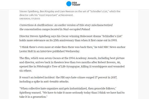 Poprawiony artykuł 'USA Today' bez frazy 'polskie obozy zagłady'