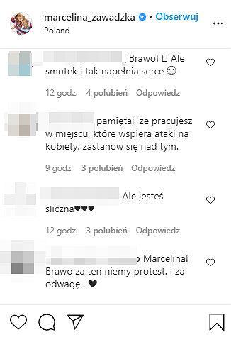 Komentarze na profilu Marceliny Zawadzkiej